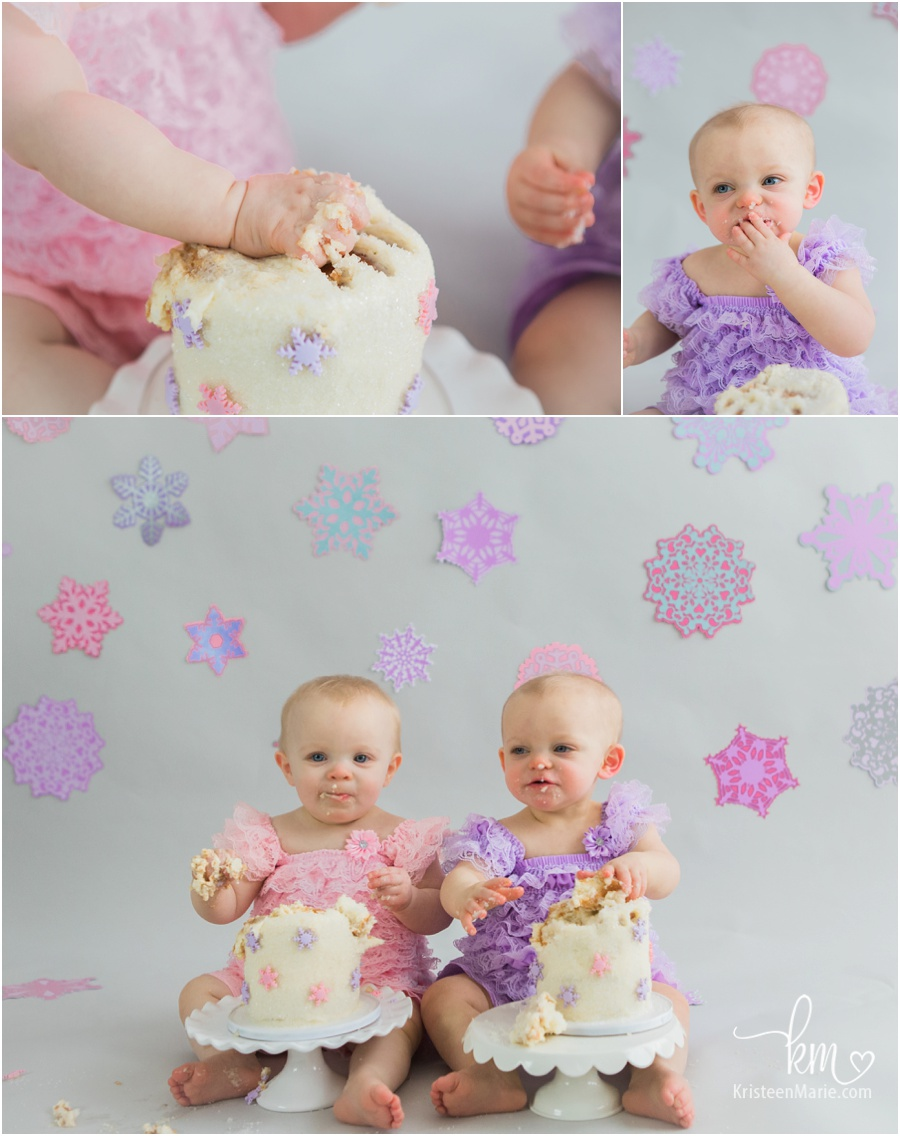 twin girls cake smash session - child photography for baby's 1st birthday