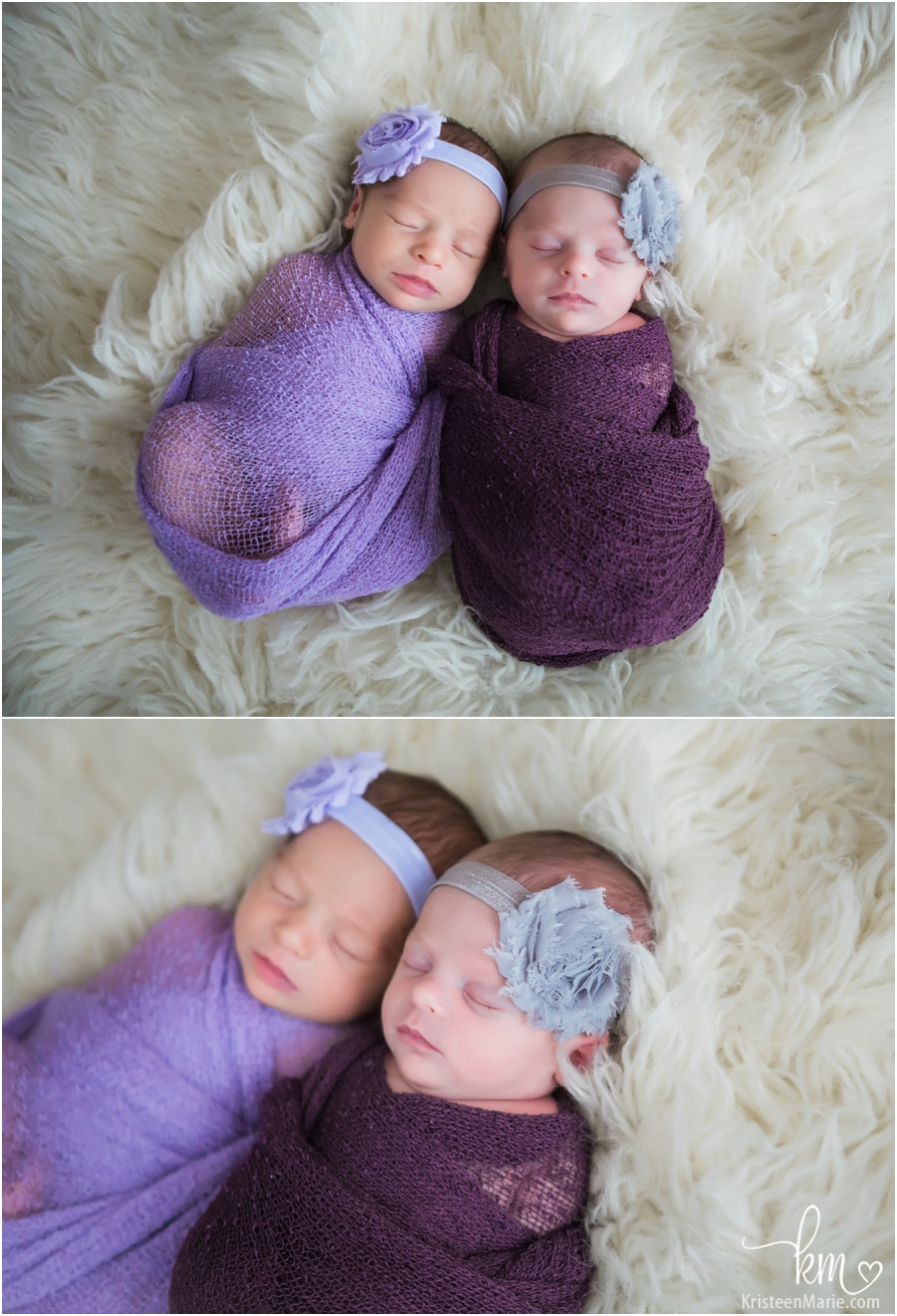 Sleeping newborn girls