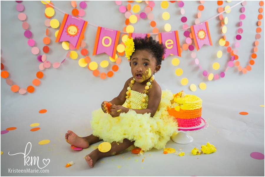 Sunshine Cake Smash Session Indianapolis Child Photographer