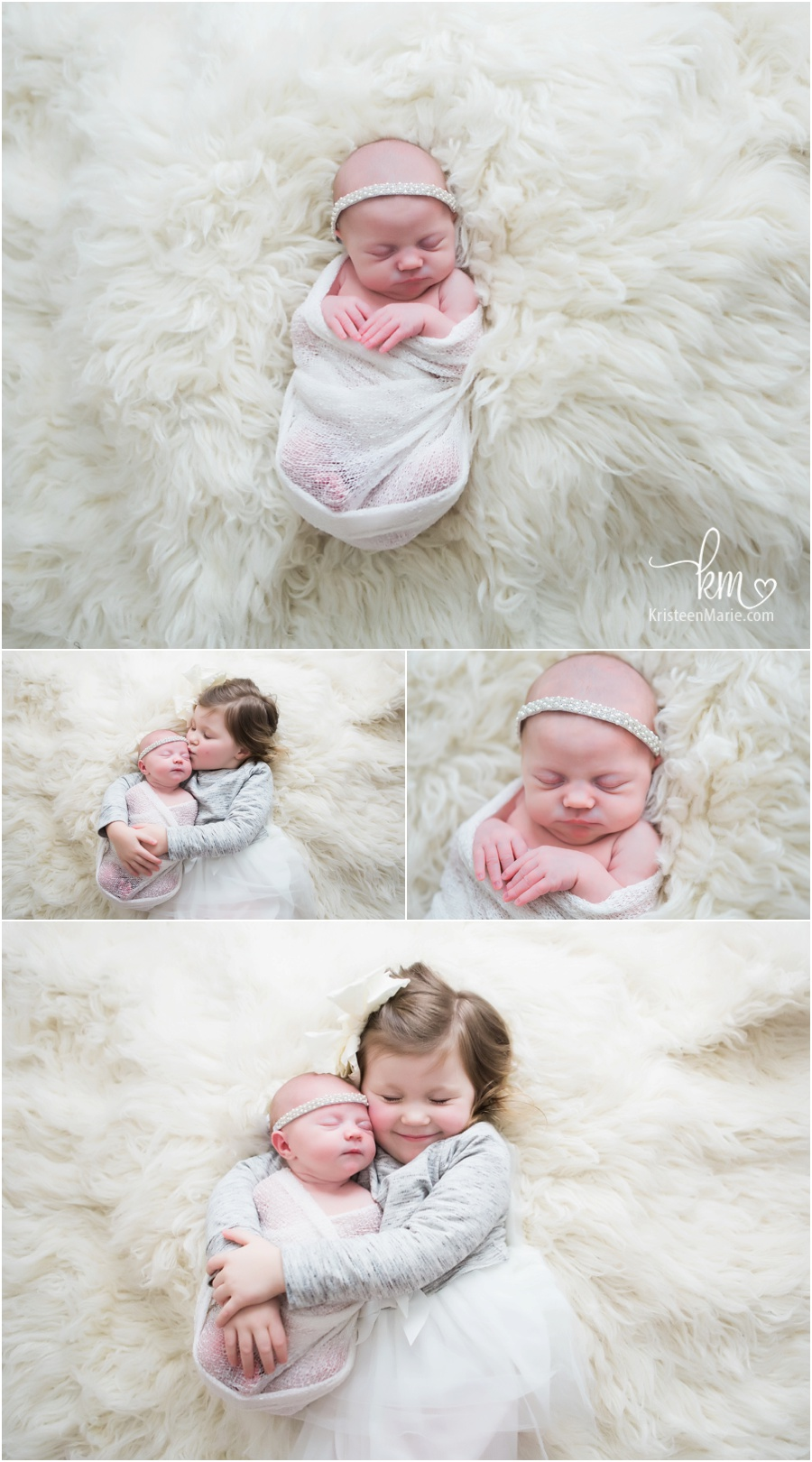 sibling pictures with newborn baby and big sister - cream backdrop