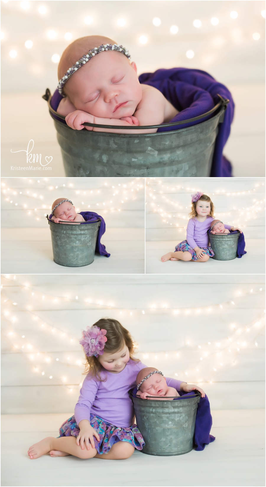 newborn girl in bucket with lights behind her