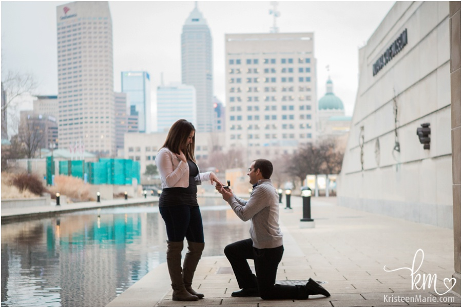 The proposal downtown Indianapolis on canal