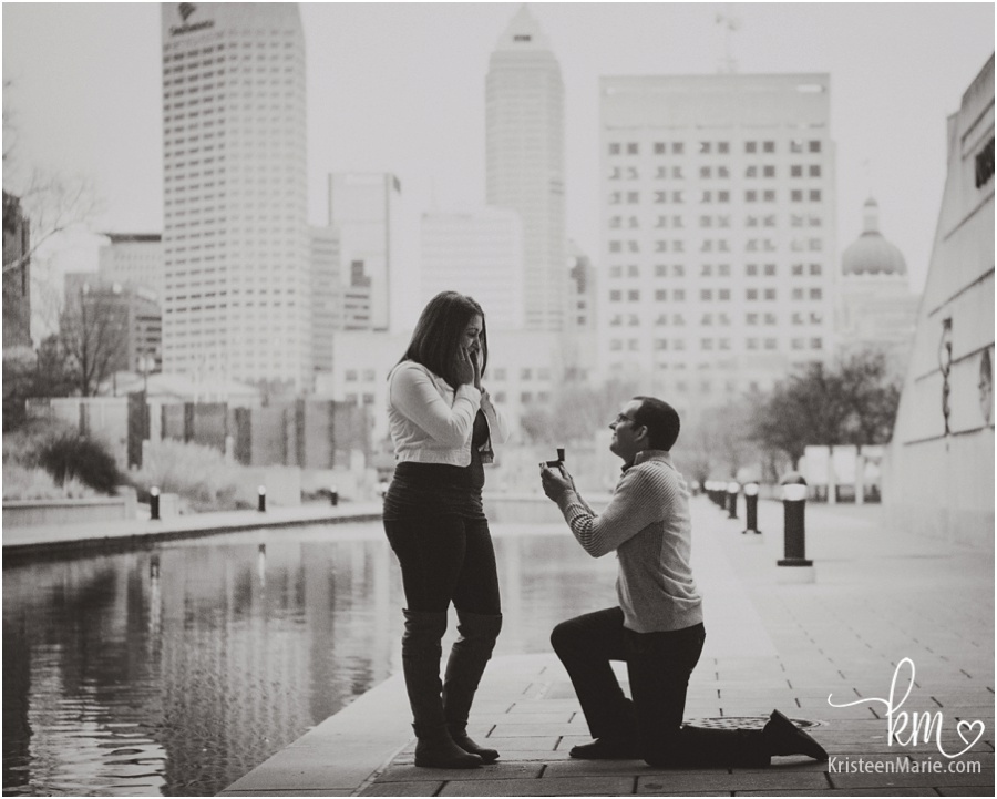 Indianapolis Proposal Photography Downtown on the Canal
