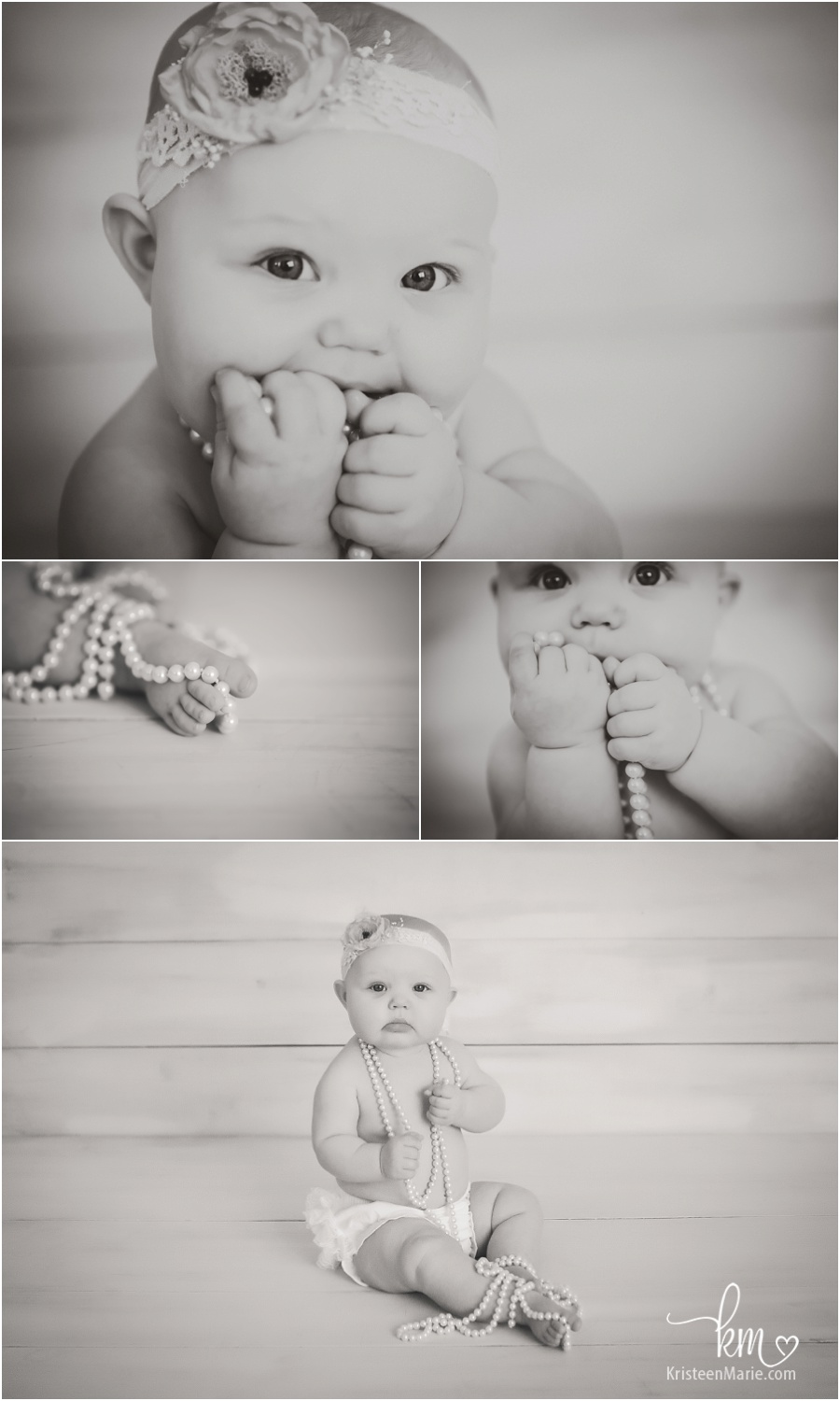 black and white child photography - sitter session with pearls