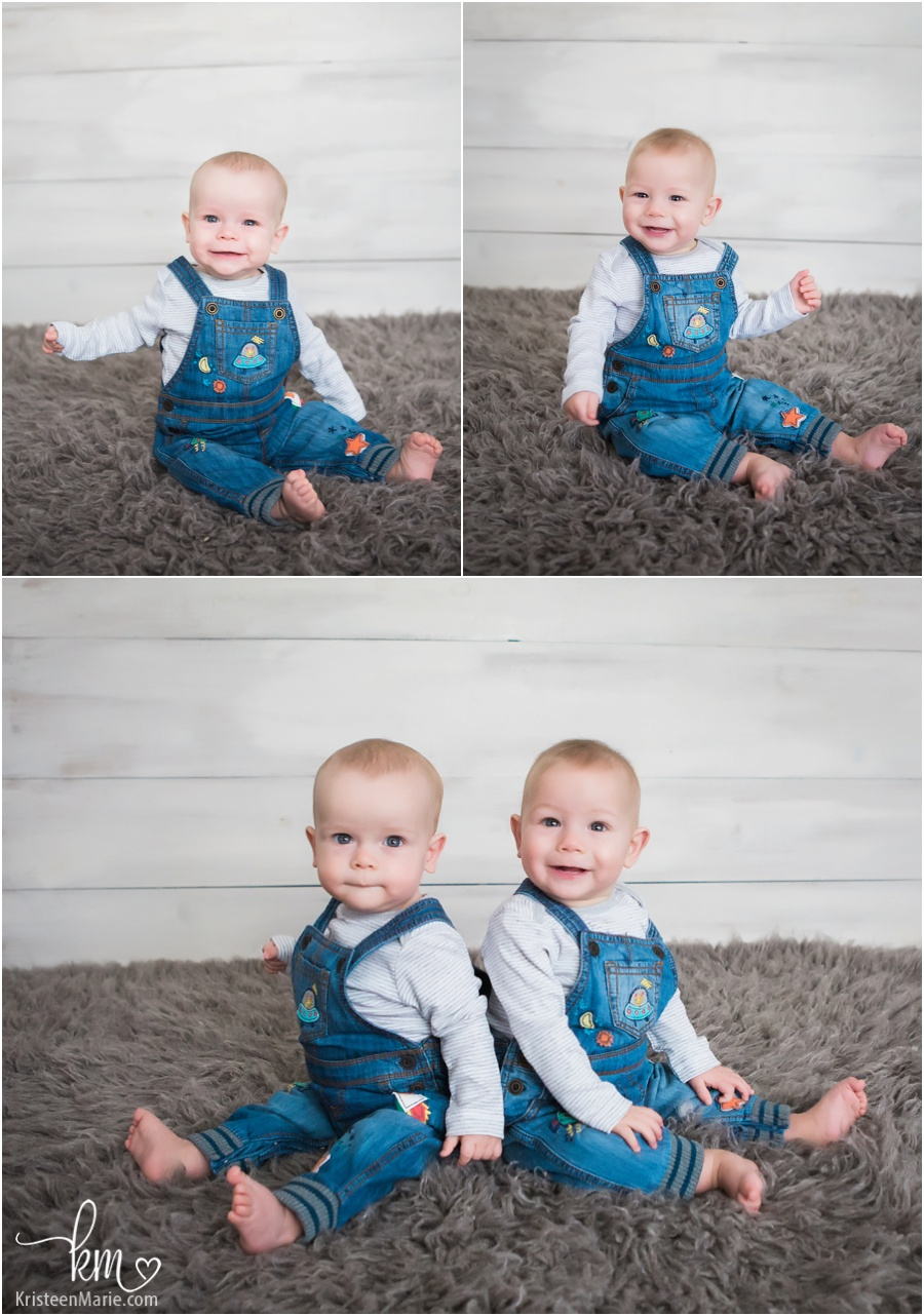 adorable twin boys in overalls