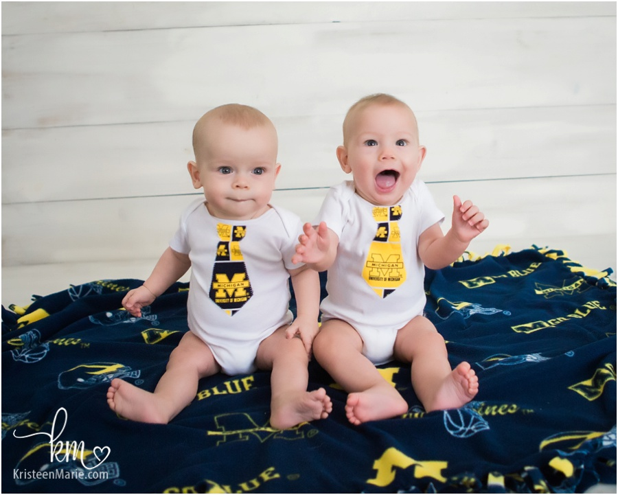 twin boys in Michigan state outfits - child photography