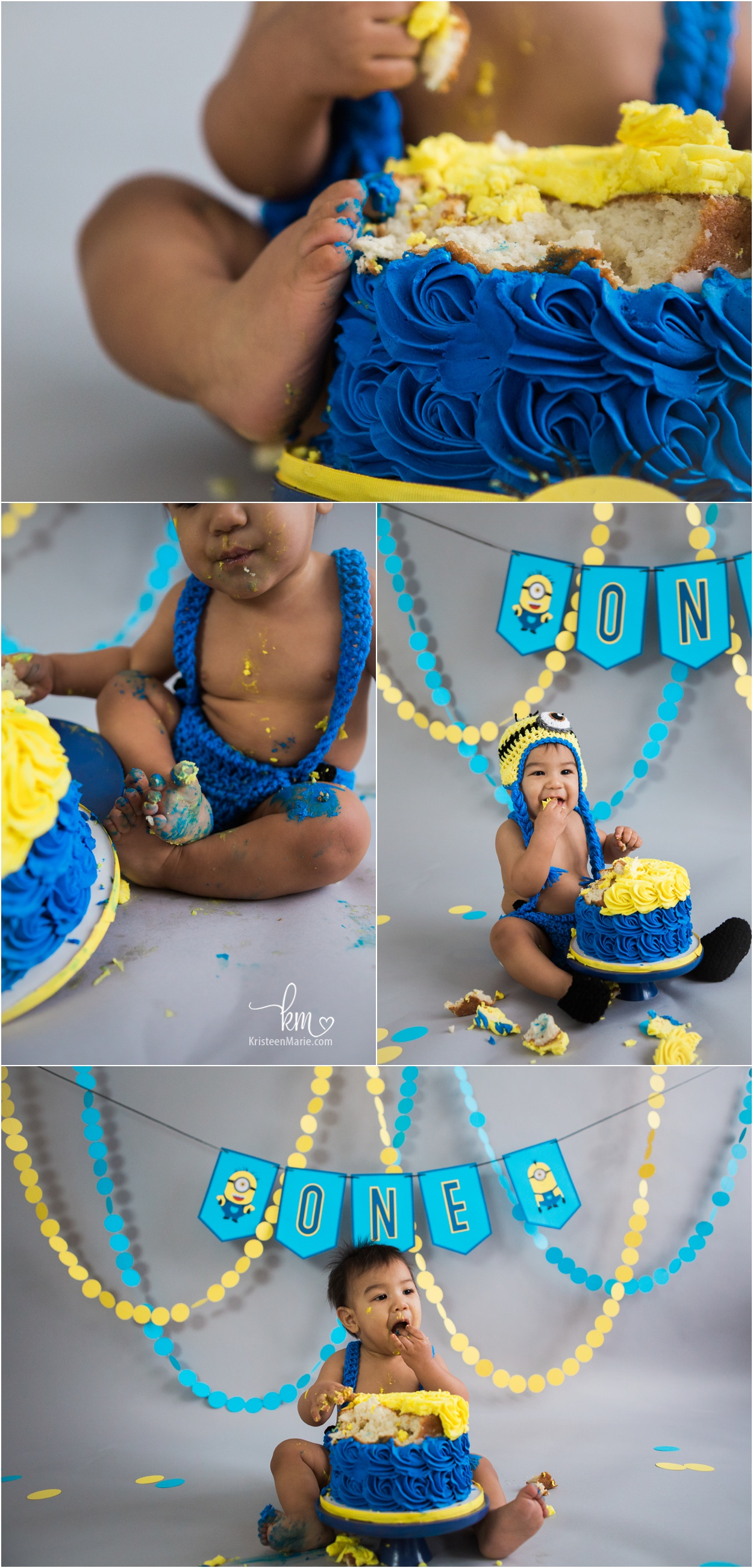 blue and yellow Minion birthday party cake smash