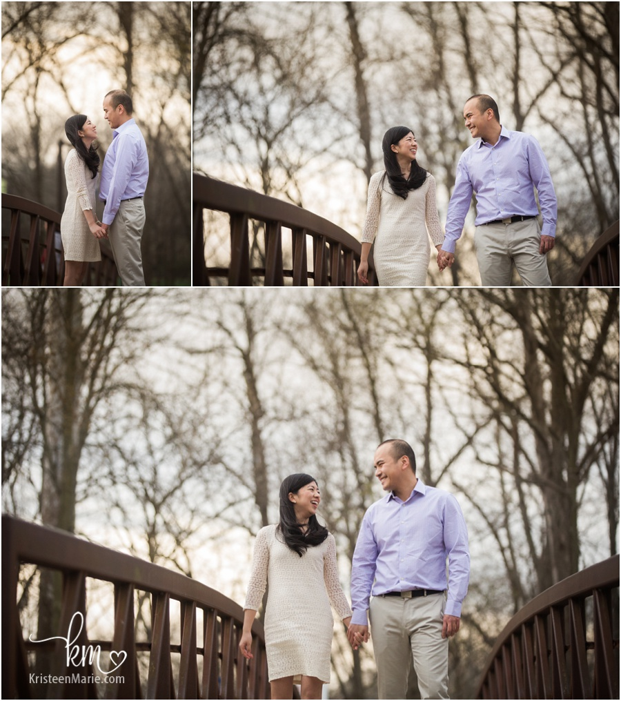 couple on bridge for engagement pictures