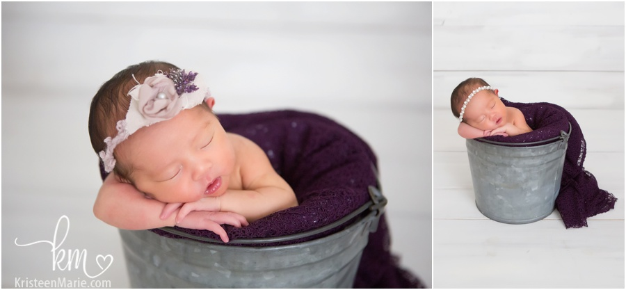 baby in a bucket - newborn photography