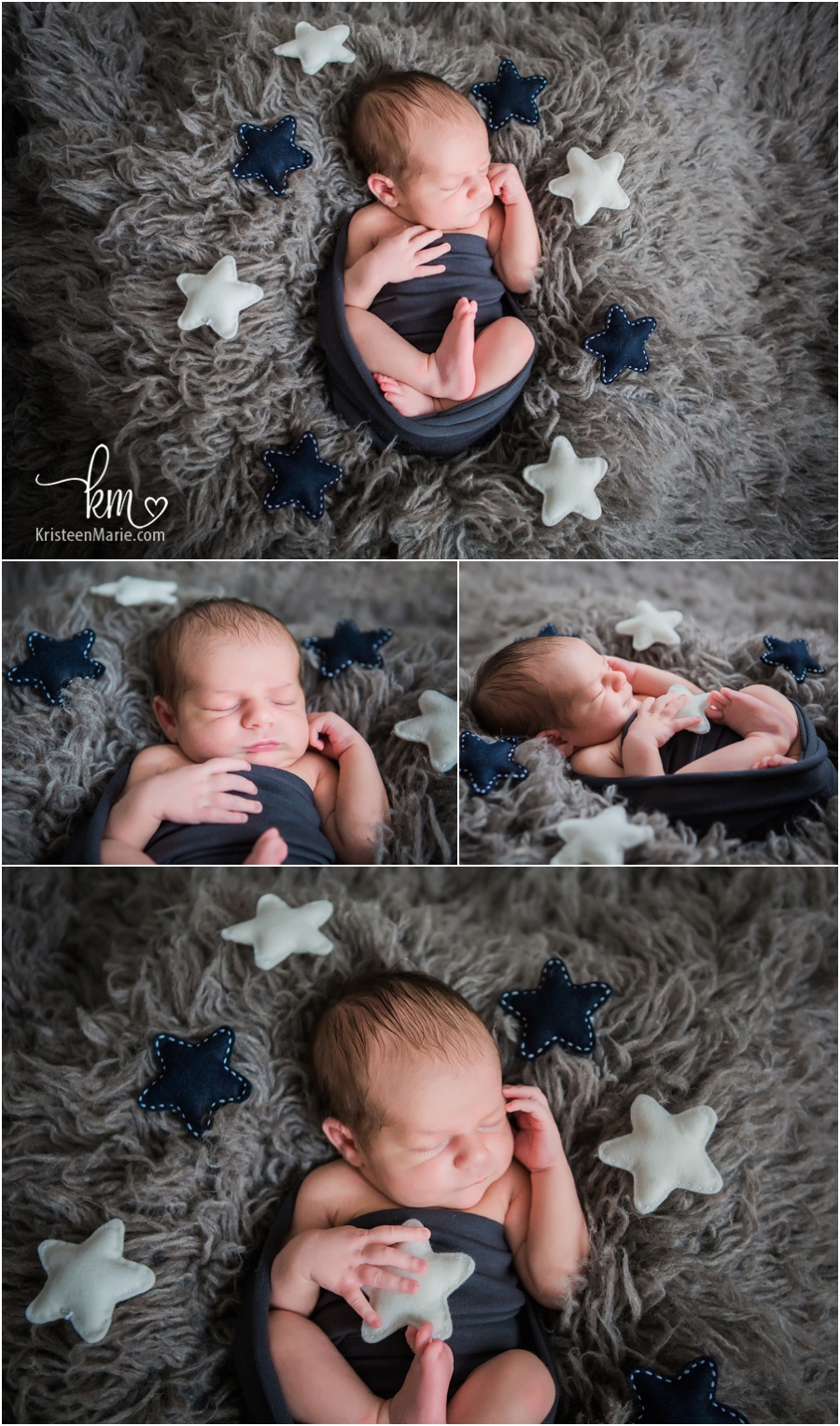 newborn baby with stars - star themed newborn announcement idea