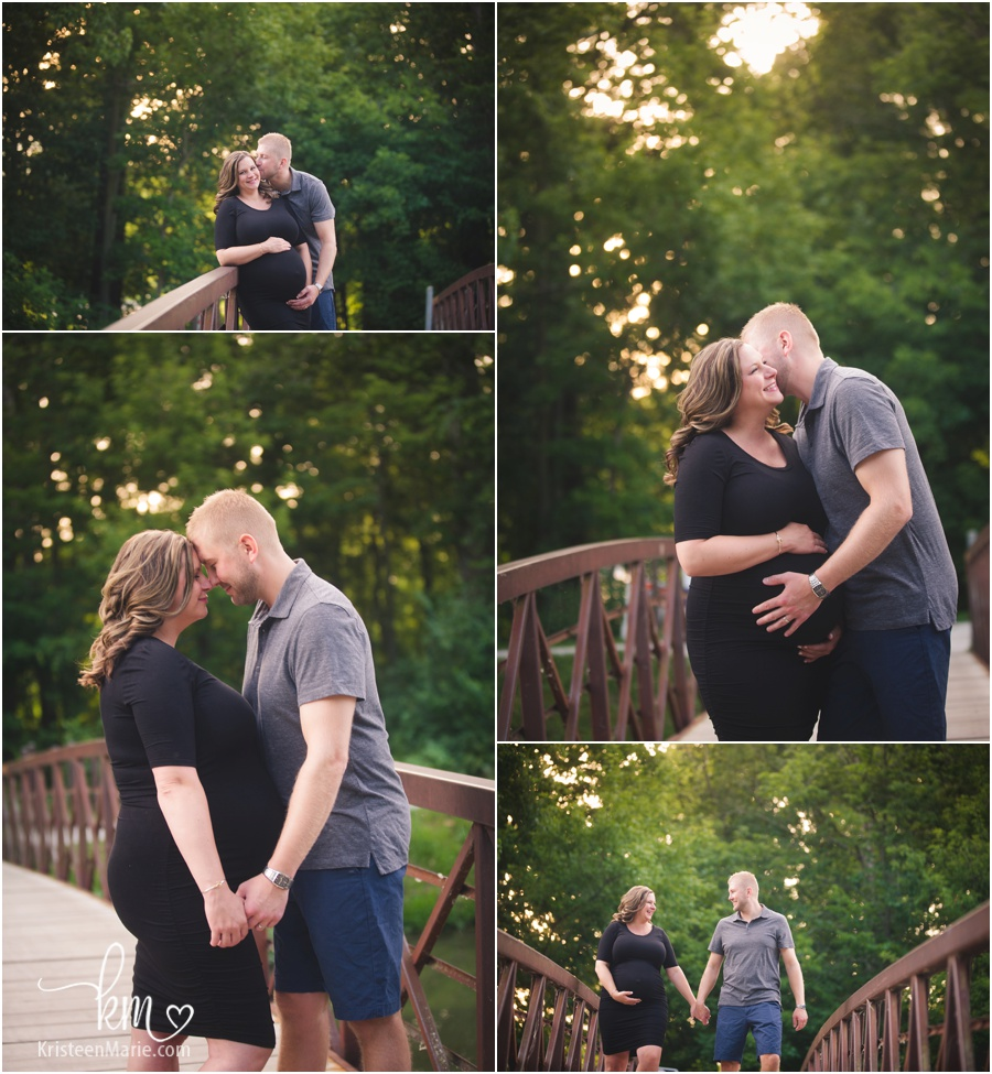 expecting couple on bridge in Indianapolis