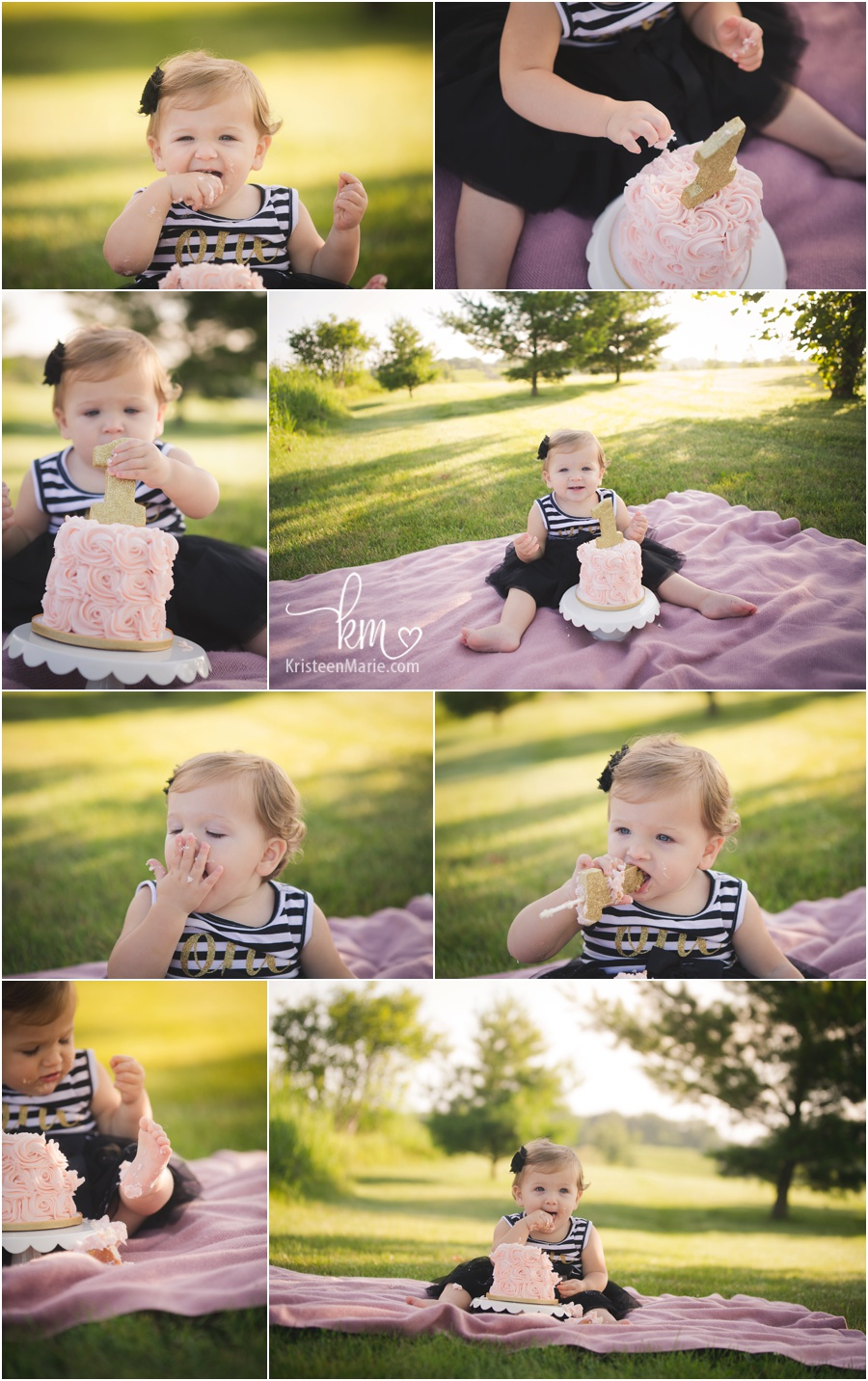 outdoor cake smash - little girl pink, gold, black and white 1st birthday cake smash