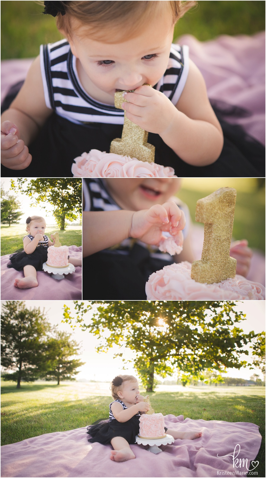 pink and gold 1st birthday theme cake smash