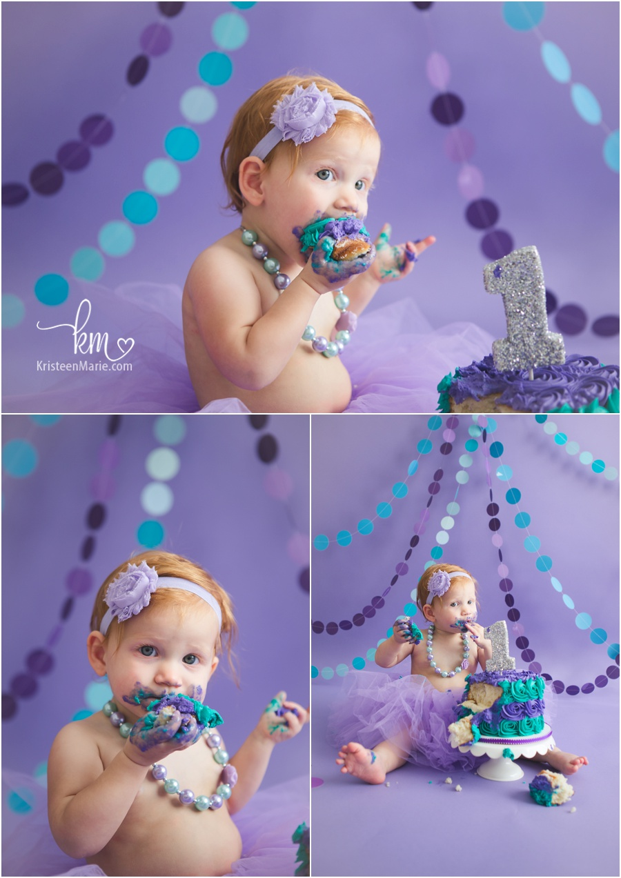 messy girl - cake smash - purple and teal - so cute!!