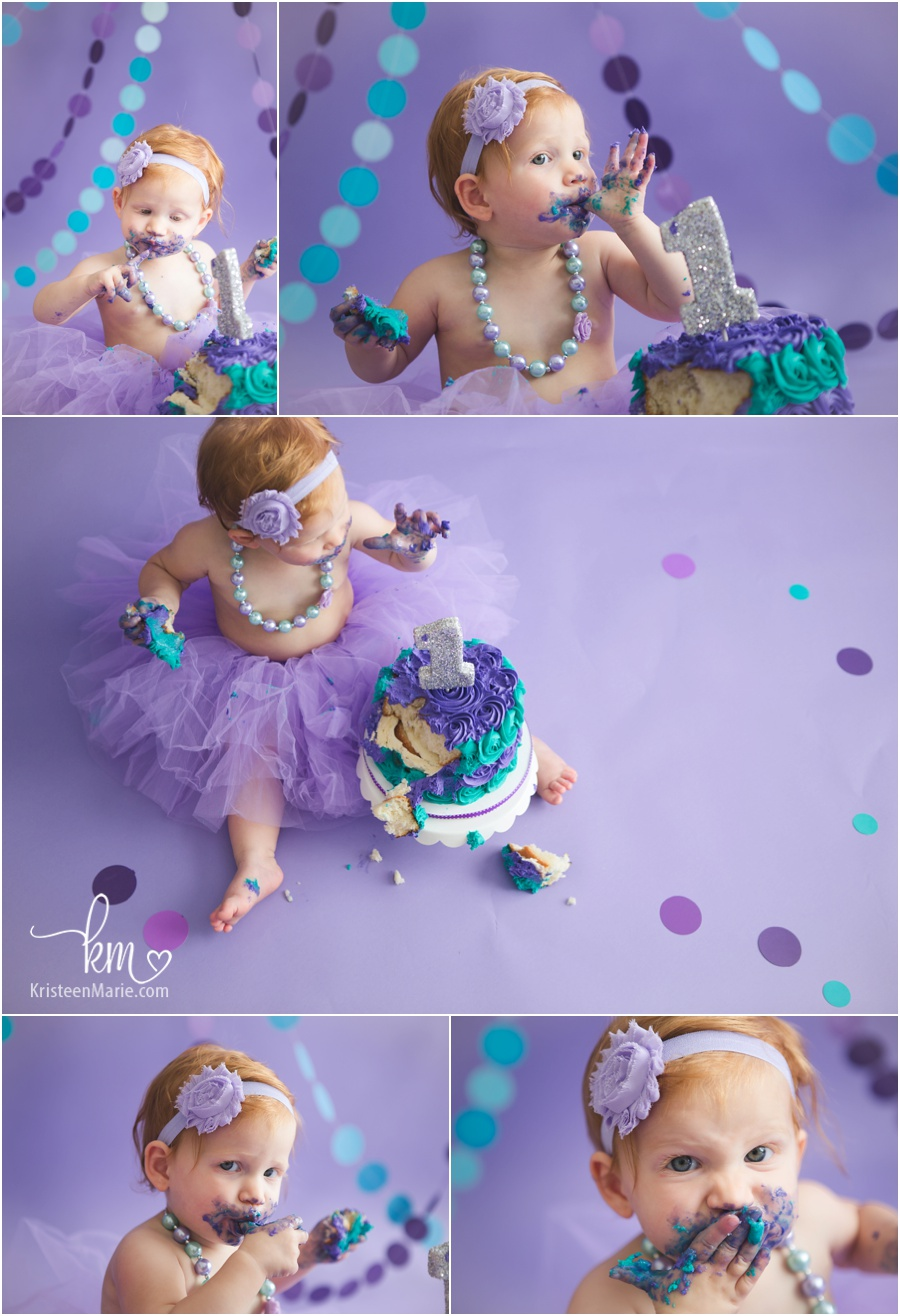 girly birthday theme - purple and teal with tutu and silver