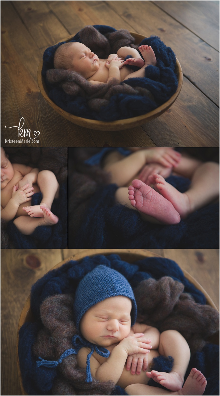 rustic newborn photography - wood, brown, and blue - newborn boy photography