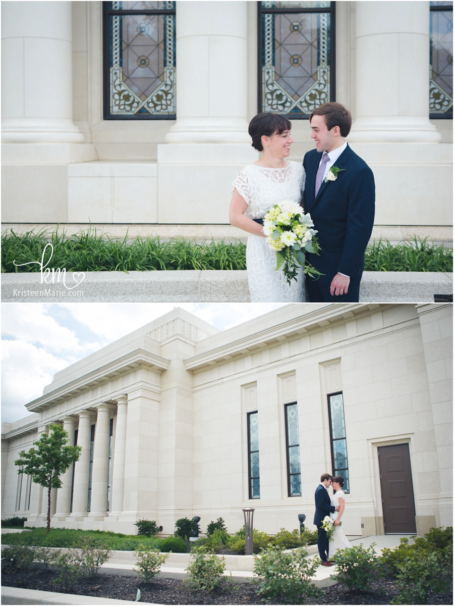 wedding couple infront of Mormon temple on wedding day