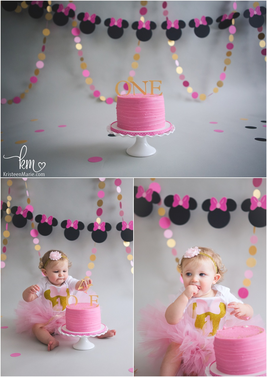 Pink and gold 1st birthday cake with mini mouse