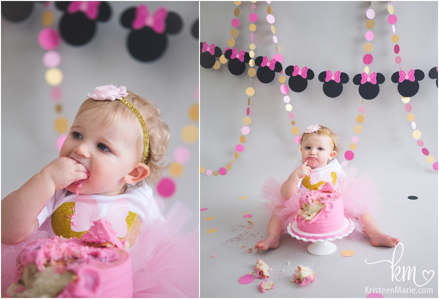 Mini Mouse Birthday Cake Smash in Indianapolis, IN by KristeenMarie Photography