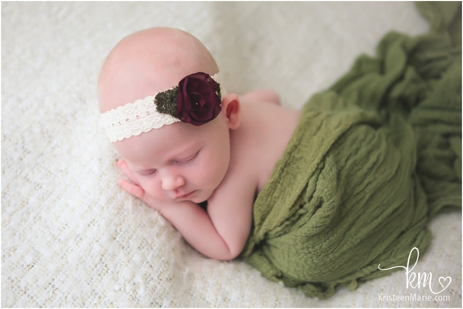 red and green newborn baby girl picture - Christmas card idea