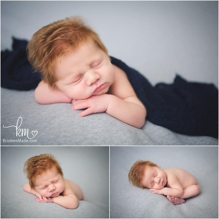Red Head Newborn Boy with Full Head of Hair