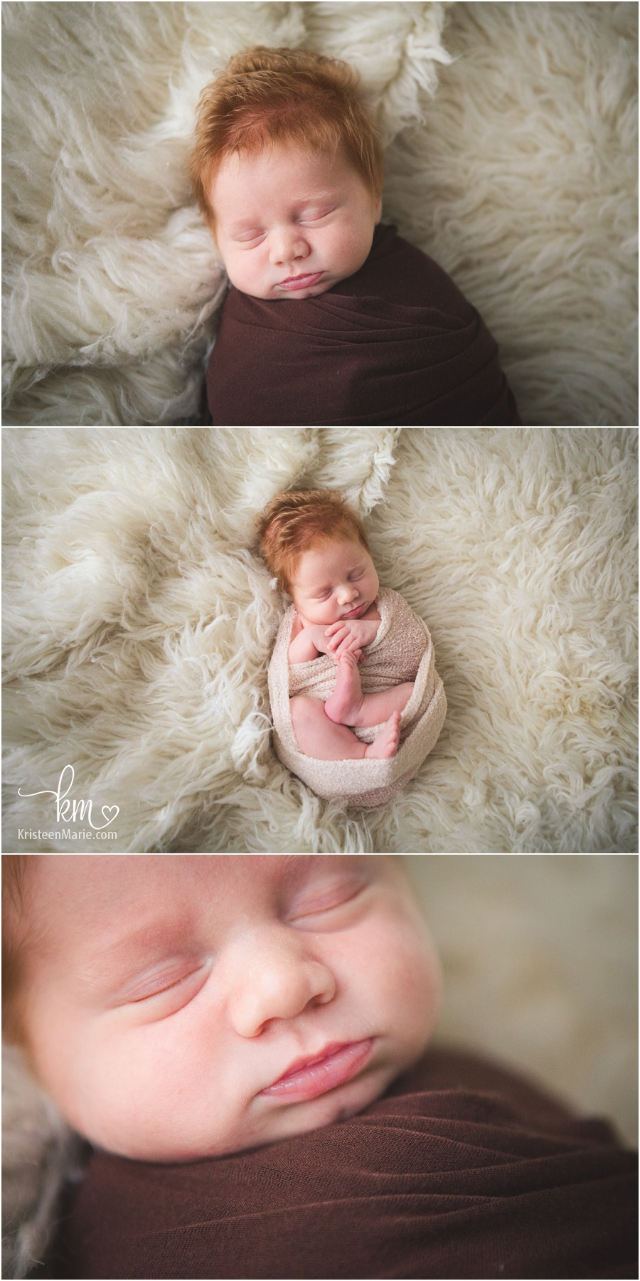 cream and brown - newborn photography - sleeping baby
