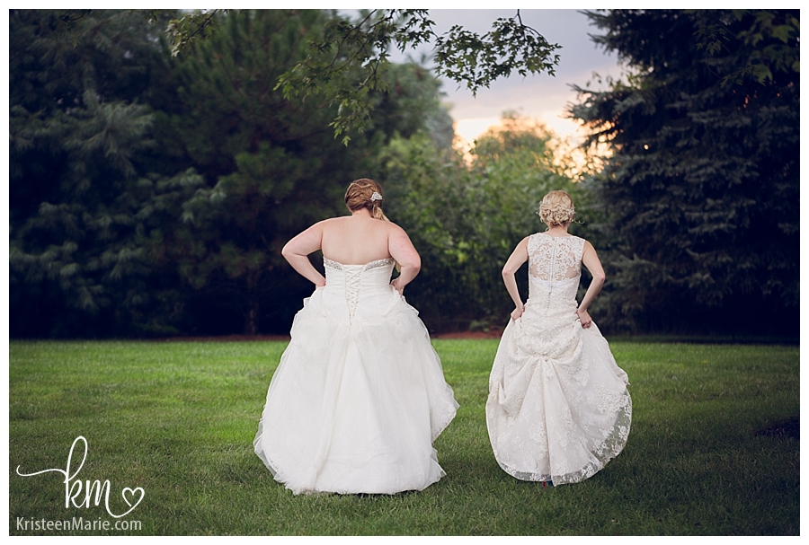 brides walking into sunset