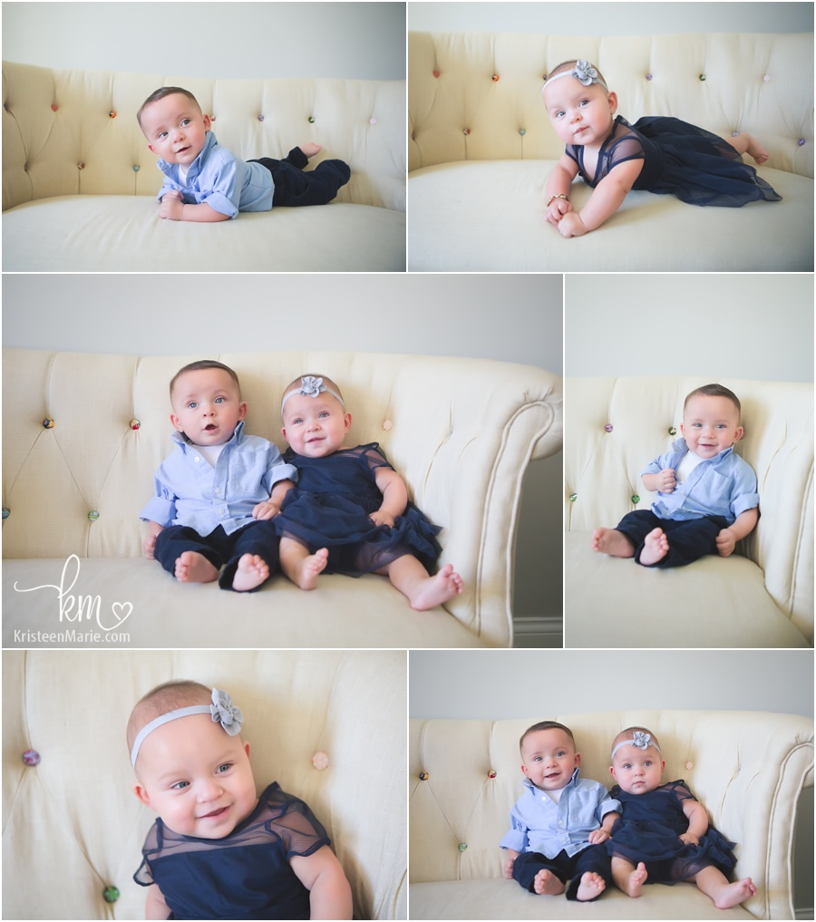 twins on a couch - cute posing ideas for 6 month old twins - boy and girl