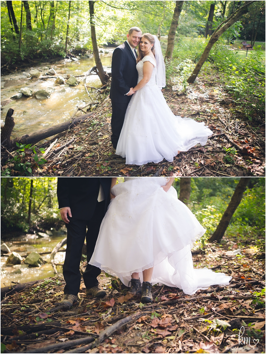 bride and groom in hiking boots