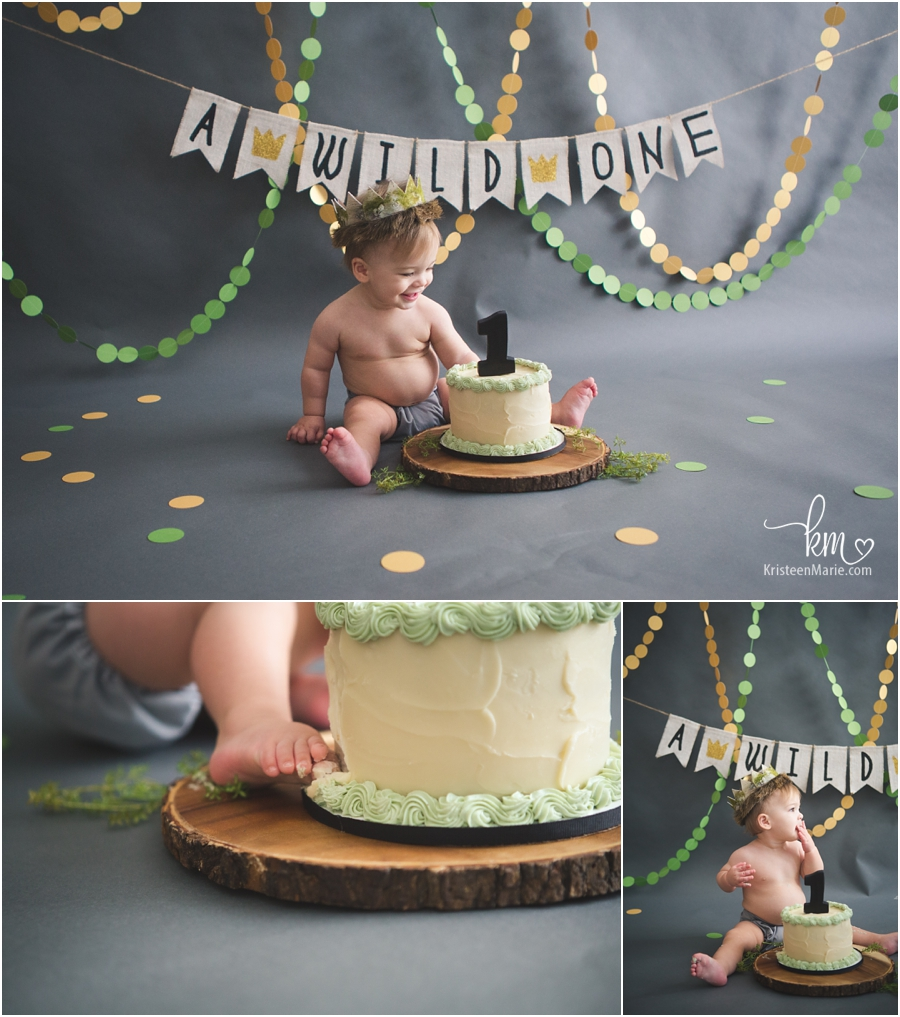 a wild one - messy 1st birthday cake smash session by Kristeenmarie photography