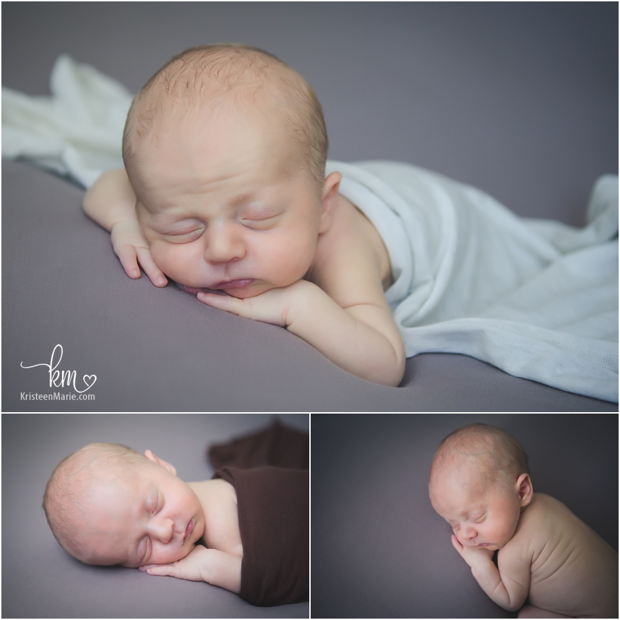 newborn boy - grey and white