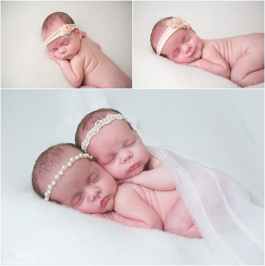 Sleeping twin newborn girls - newborn photography poses for twin girls