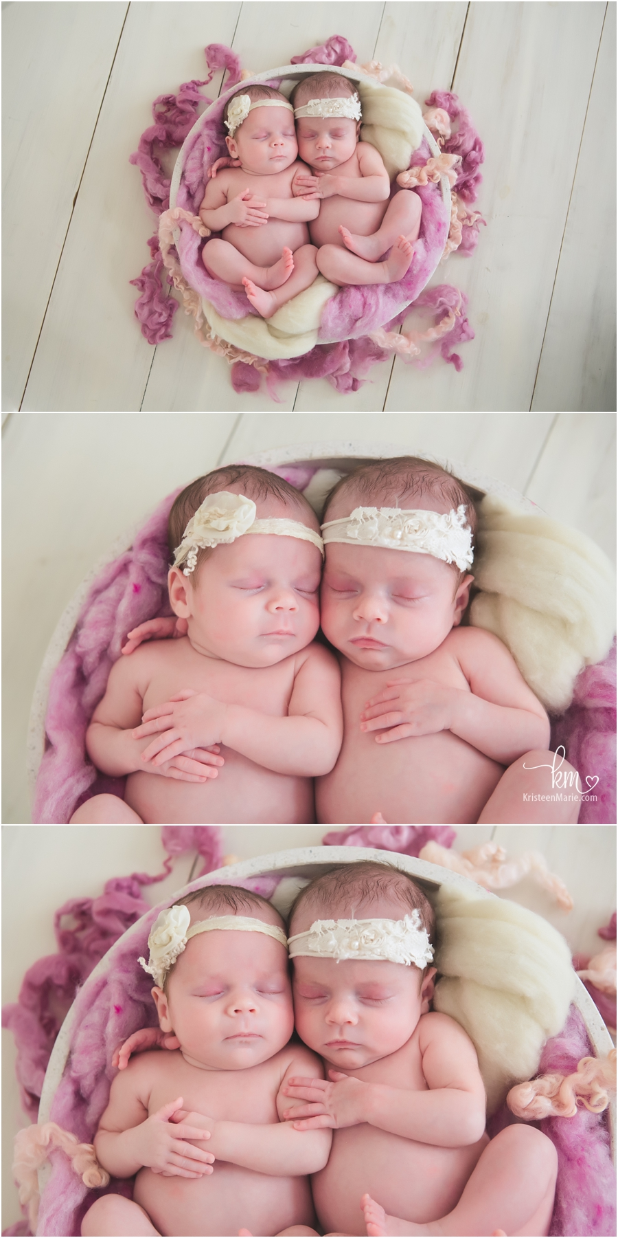Newborn twins from Indianapolis - love the colors and textures for newborn girls