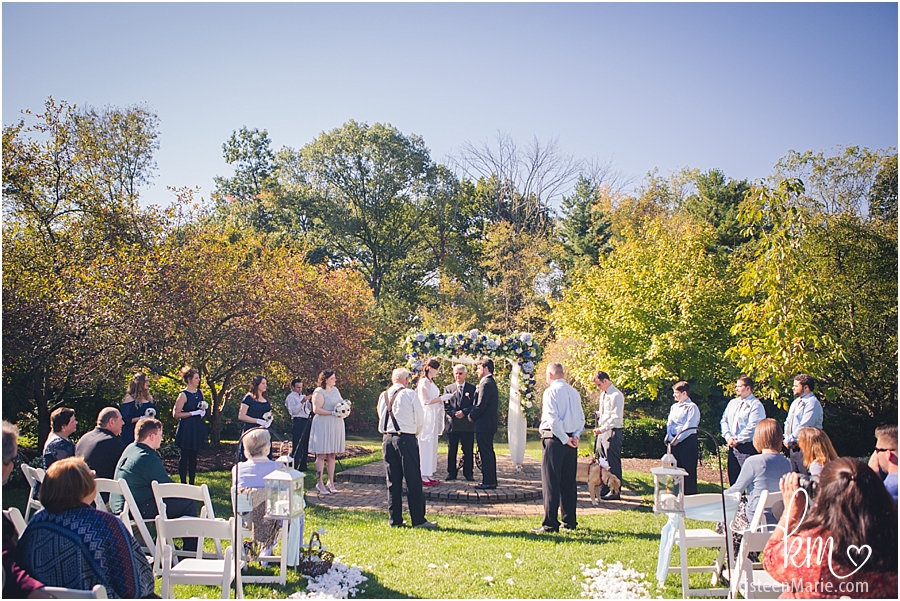 wedding ceremony at Avon Gardens