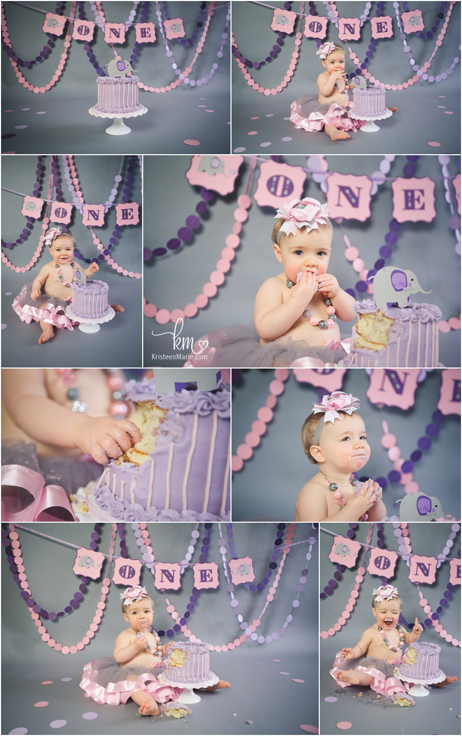 purple elephant themed cake smash photography