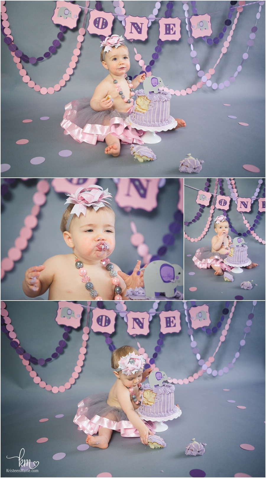 pink and purple elephant cake smash photography for baby's 1st birthday