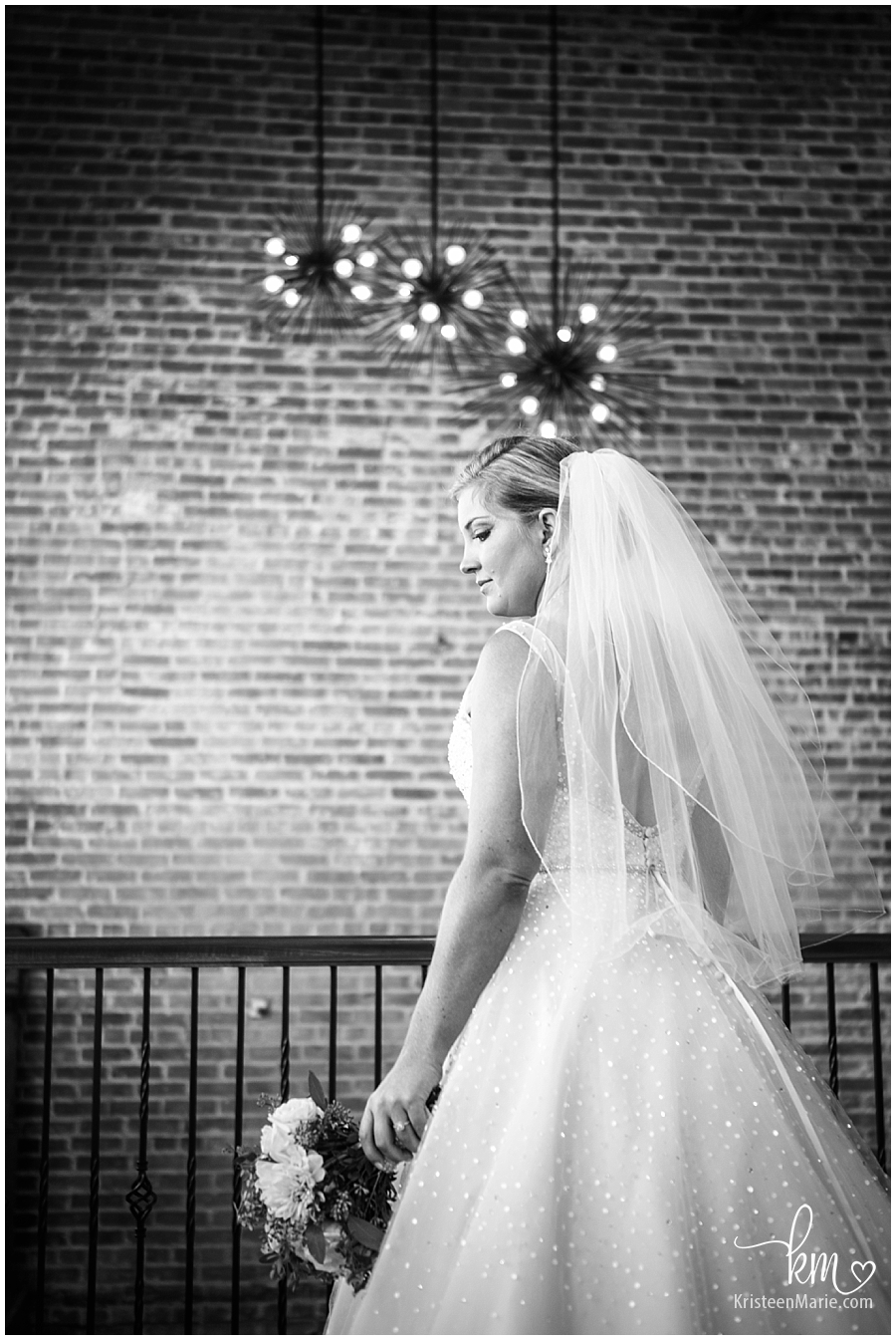 black and white picture of the bride at the Bitwell Event Center