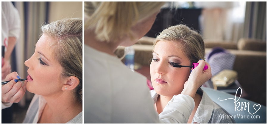 putting on make-up for the wedding day