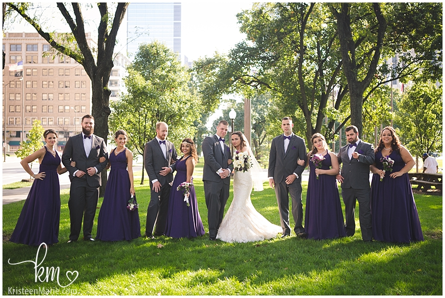 bridal party - purple and grey