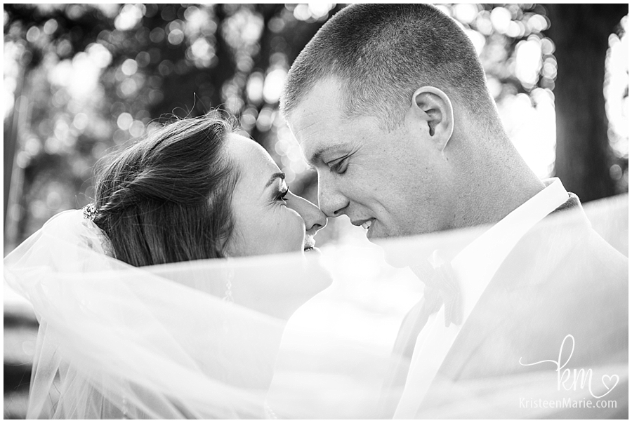 intimate bride an groom picture in black and white with veil
