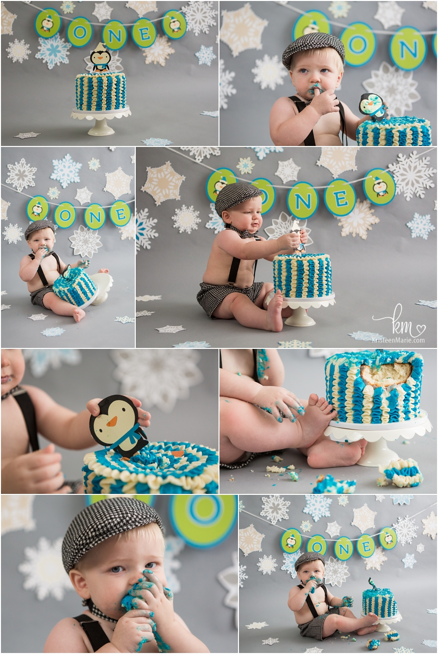 Winter ONEderland cake smash pictures for baby's first birthday