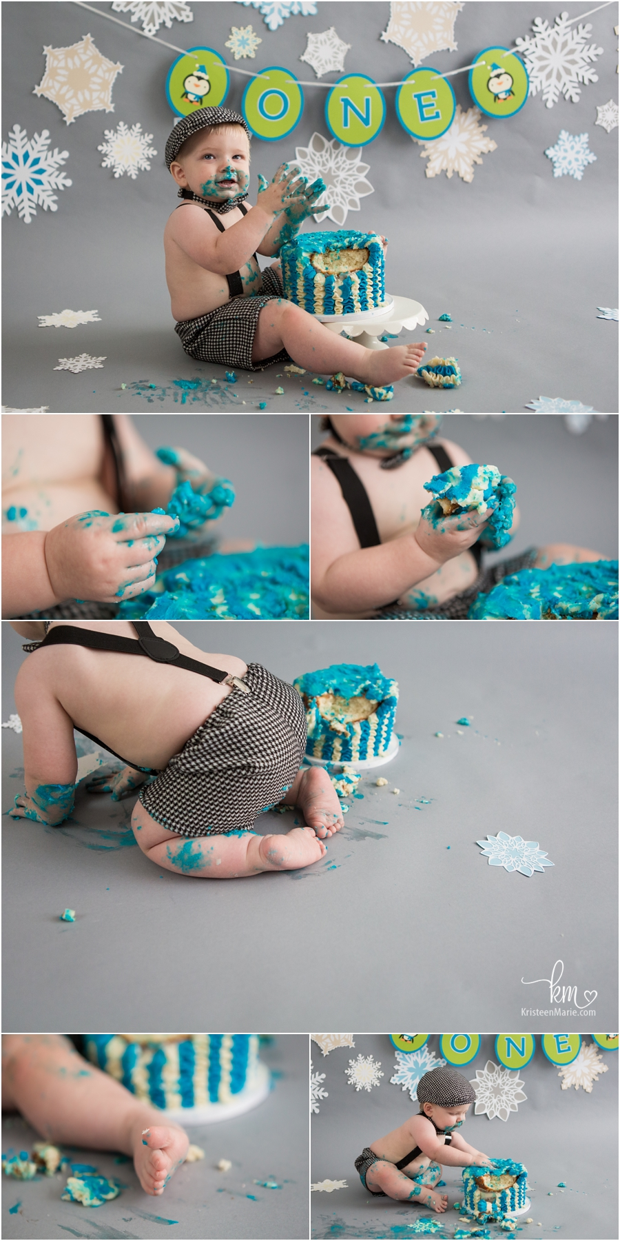 adorable mess with birthday boy - celebrating 1st birthday with Winter ONEderland themed cake smash session