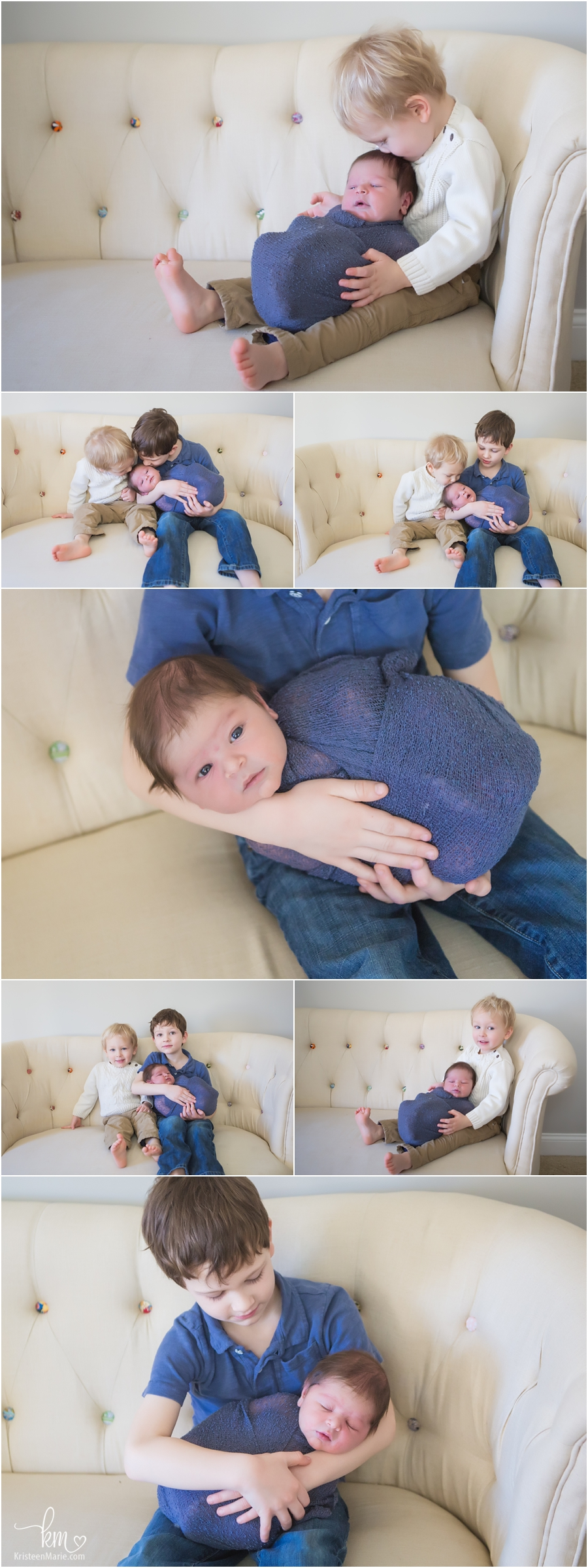 family poses with newborn baby on couch