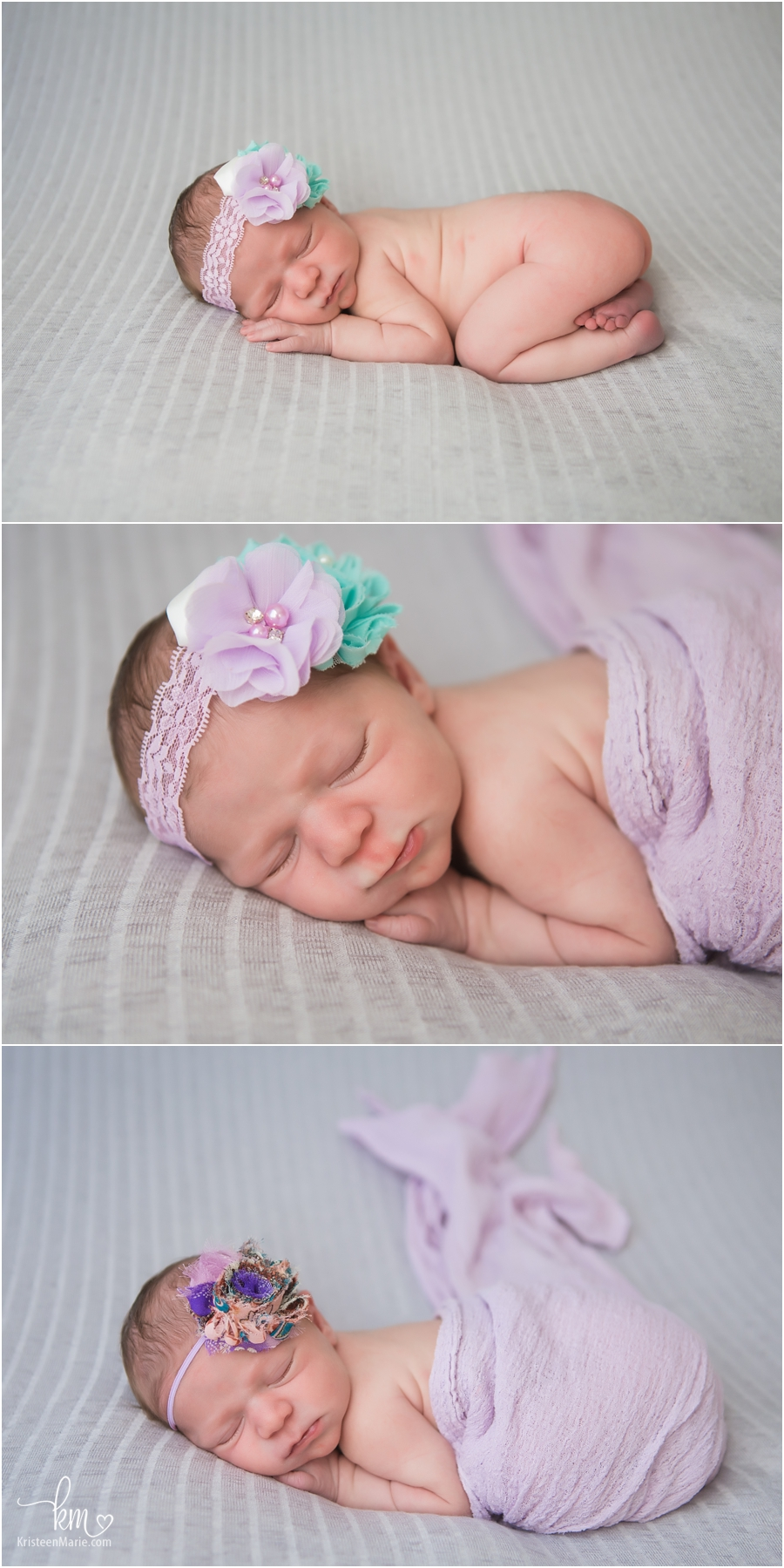 newborn girl - purple and grey photography