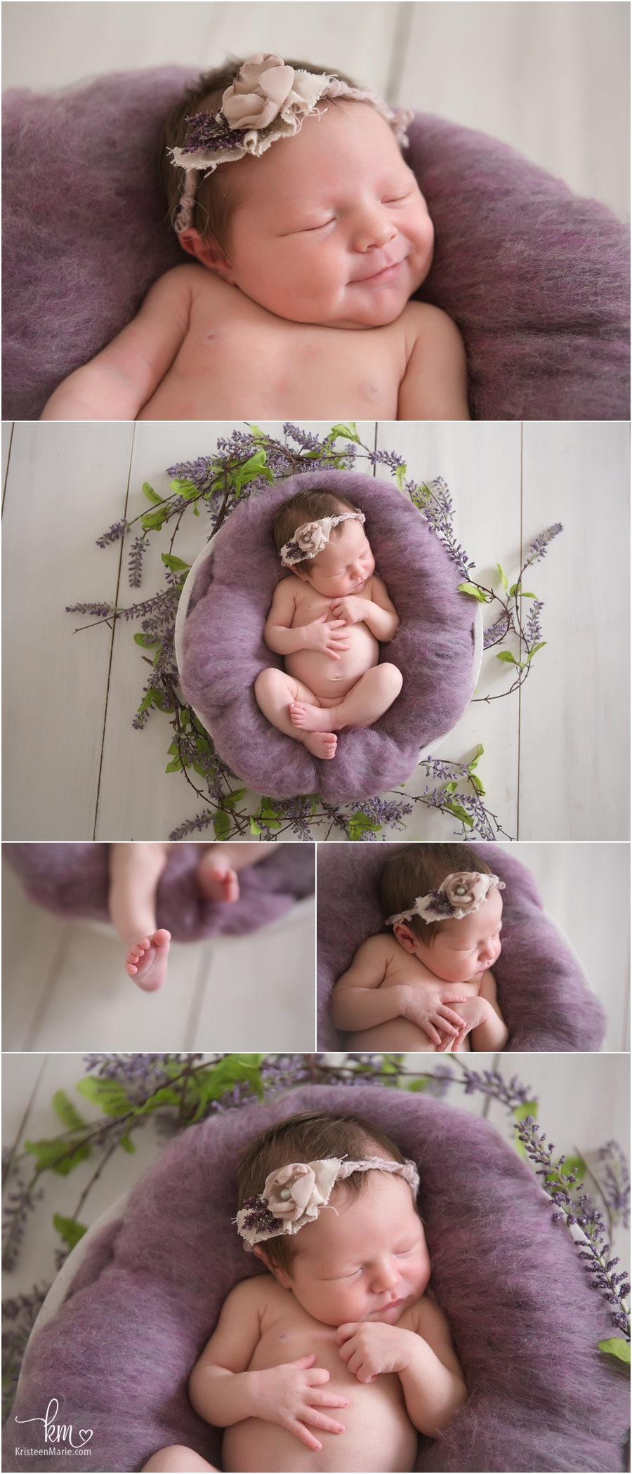 newborn girl with purple flowers