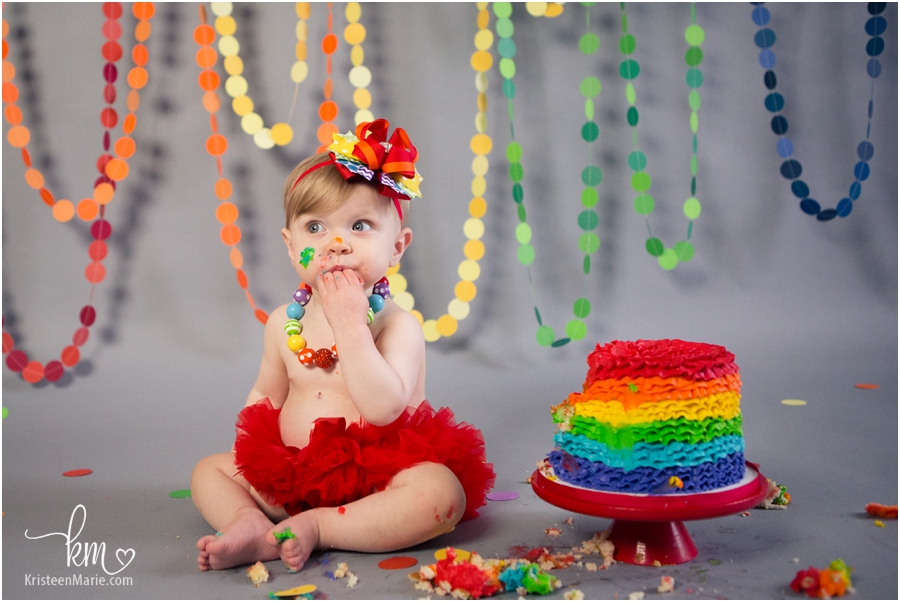 Rainbow Baby 1st Birthday Cake Smash