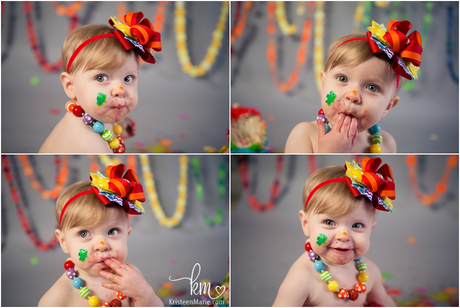 many faces of baby eating cake