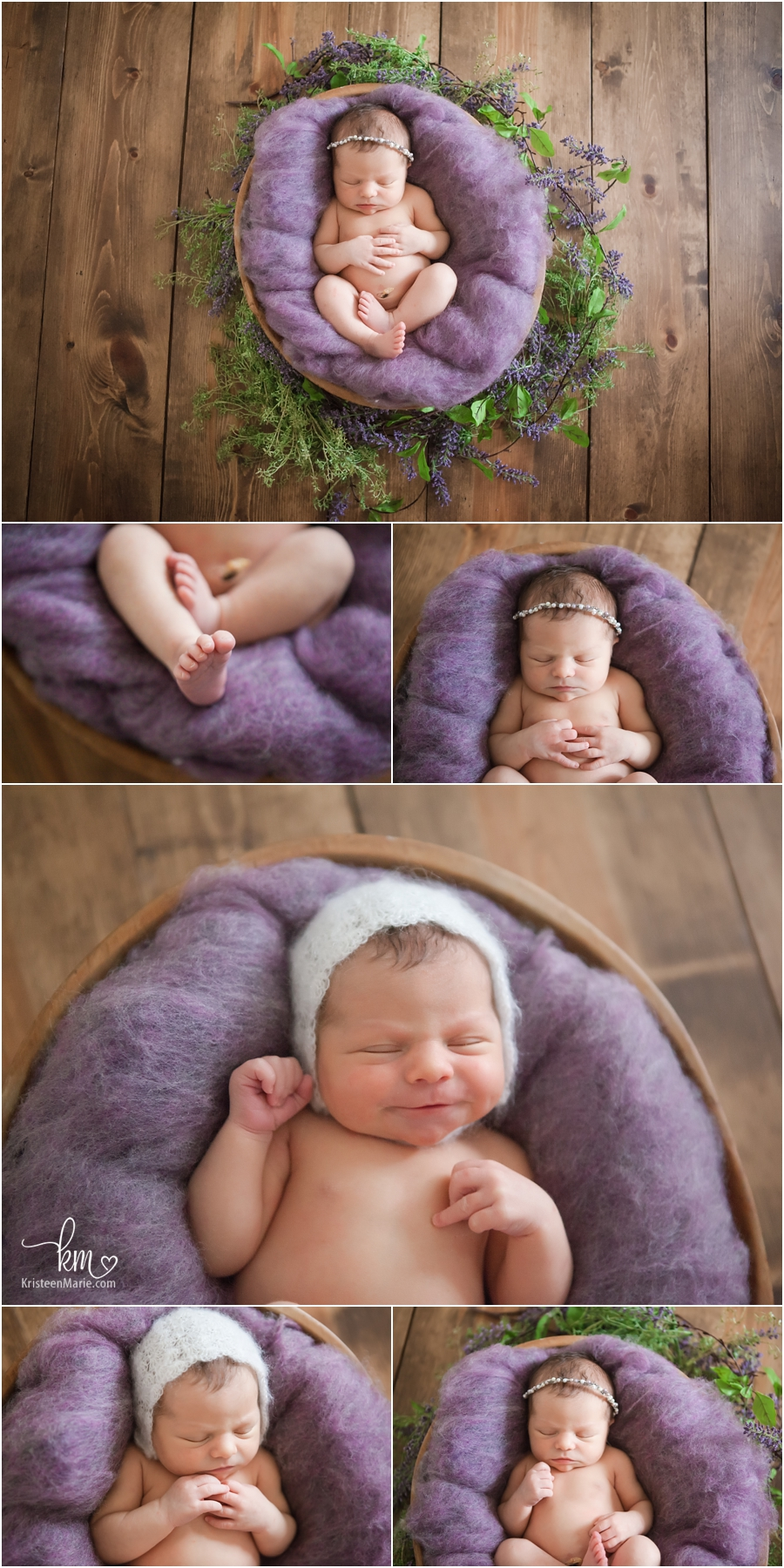 newborn girl in purple