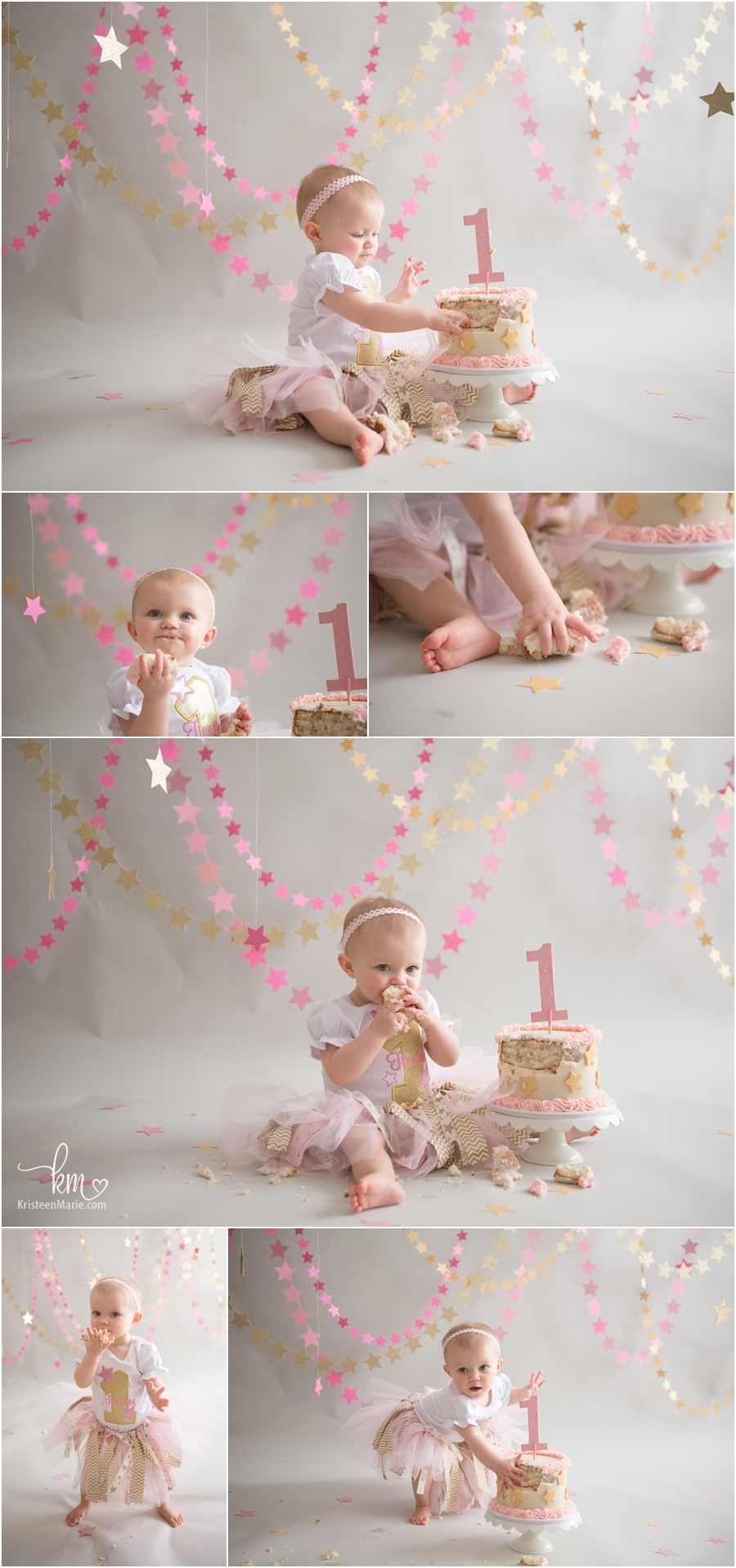 Pink Amp Gold Twinkle Little Star 1st Birthday Cake Smash