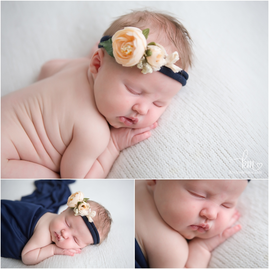 peach and navy - newborn photography for newborn girl